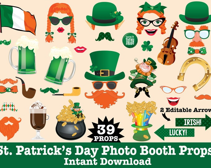 St Patrick's Day Photo Booth Props - St Patty's Day Party - Mustache Bash- Leprechaun Party-  Instant Download PDF - 39 DIY Printable Props