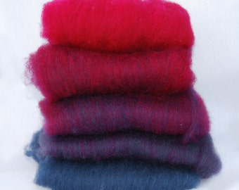 Shetland Fuschia to Blue Ombre Spinning Batts - 5 ounces
