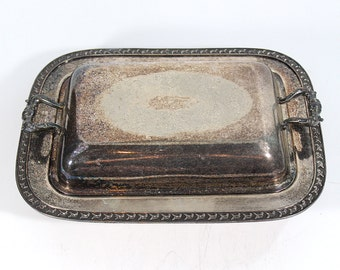 Vintage Silver Plate Serving Tray with Lid