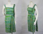1950 1960 Jeannette Alexander Shelf Bust Sarong Cotton Dress