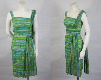 1950 1960 Jeannette Alexander Shelf Bust Sarong Cotton Dress