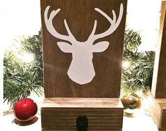 Stocking holder, reclaimed wood, deer mantle decor, mantle stocking, rustic Christmas, white stockings, tree, Christmas stockings, angel