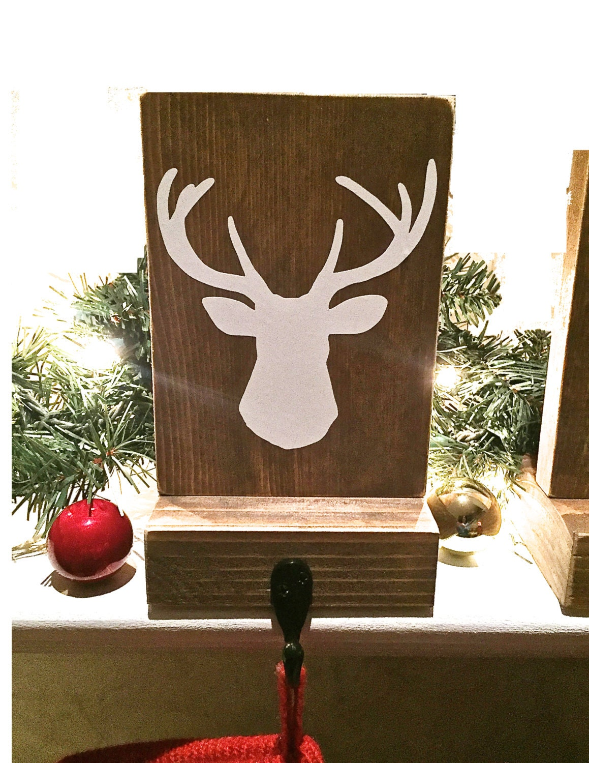 Stocking holder reclaimed wood deer mantle decor