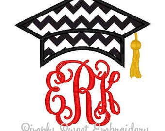 Graduation Hat Machine Embroidery Applique Design