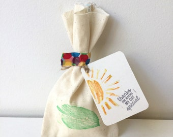VERY HUNGRY CATERPILLAR Theme Calico favour bags. very hungry caterpillar party, leaf, caterpillar party theme. X 10