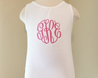 Monogrammed Tank Top - Initial Sleeveless Toddler Top - Monogram - Personalized Shirt - Girly Monogrammed Shirt - SALE