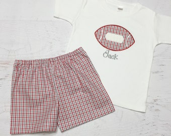Alabama Football Outfit - Crimson Tide Shorts - Red and Gray Tricheck Shorts - Plaid Football Outfit - Football Appliqie - Football Outfit