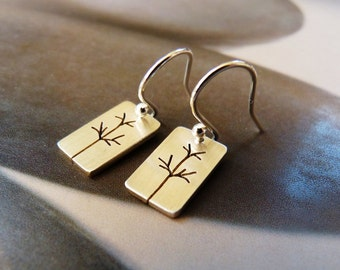 Trees Sterling silver earrings, dangle earrings, natural jewelry, small earrings, birthday gift for her