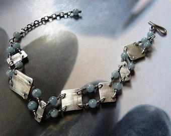 Aquamarine bracelet, rustic beaded bracelet, handmade Sterling silver jewelry, OOAK, gift for mother, gift for wife, birthday present
