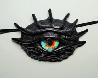 Dragon eye eye patch black leather. Snake eye patch. Blue eye leather eyepatch.Leather necklace