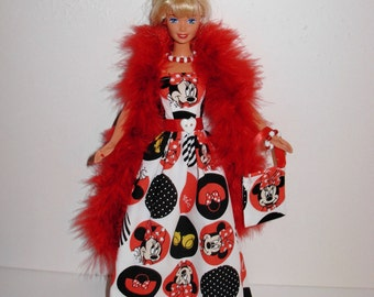Handmade barbie clothes Beautiful Minnie gown with boa necklace bracelet bag 4 barbie doll