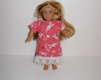 Handmade clothes. Cute nightgown pajamas for Mini American girl doll 6 1/2 inch