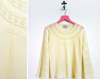 Vintage 1970s Pointelle Cream Acrylic Sweater with Bell Sleeves by Sweater Bee Size L