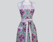 Full Bib Womens Apron , Olive Green and Raspberry Pink Large Floral Medallion Full Kitsch Apron Personalize or Monogram