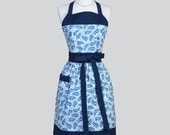 Classic Bib Apron , Shades of Blue Floral Retro Chef Hostess Apron Ideal to Personalize or Monogram