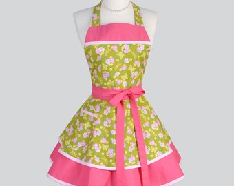 Ruffled Retro Apron / Cute Full Flirty Kitchen Womens Apron in Vintage Style Butterflies and Pink Flowers Personalize or Monogram
