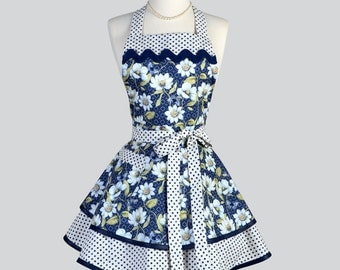 Ruffled Retro Aprons - Flirty Navy White Floral and Polka Dots Indigo Nature Vintage Style Full Kitchen Apron Personalize or Monogram