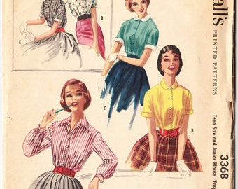 Vintage 1955 McCall's 3368 Sewing Pattern Teen Size and Junior's Blouse Size 12 Bust 30
