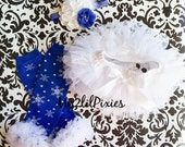 SALE - TUTU bloomer , snowflake leg warmers,baby headband ,ruffles all the way around,baby Tutu Bloomer, leggings , white and red