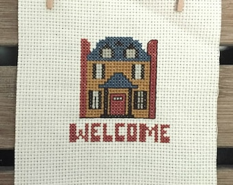 Completed Cross Stitch Welcome Country Manor