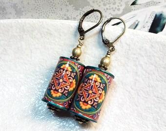 Paper Tube Beads Dangle Antique Bronze Lever Back Hoop Earrings