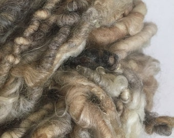 Super bulky handspun yarn - very thick yarn with uncarded wool and mohair