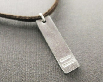 Rectangular pewter pendant stamped with EQUAL symbol, on vegan leather cord, Equality, LGBT Gift, LGBT Support, Lesbian Pride, Gay Pride