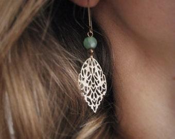 Moroccan Earrings, Bohemian Earrings, Gold Dangle Earrings, Filligree, Green Bead, Boho Earrings, Dangling Chandelier Earrings, Lightweight