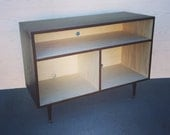 Mid Century Modern Record Cabinet TV Table Media Console w/ Sound Bar/Receiver Shelf Stand Entertainment Cabinet, MCM