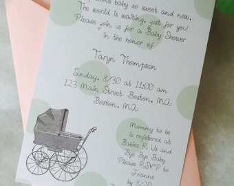 Baby shower invitation, carriage, polka dots, pick your colors