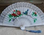 vintage plastic bluebird fan