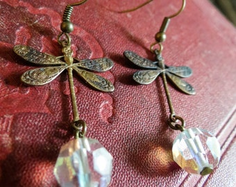 Dragonfly Dreams - Steampunk Neo Victorian Dragonfly Earrrings