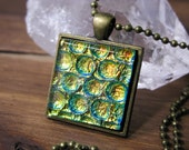 Square Glass Necklace, Dichroic Jewelry, Cosmic Bubblewrap Necklace, Dichroic Pendant, Fused Glass Jewelry, Antique Gold Neckalce