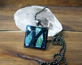 Blue-Green Chevron Glass Square Necklace, Square Glass Pendant, Dichroic Jewelry, Dichroic Pendant, Fused Glass Jewelry, Square Necklace