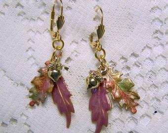 Oak Leaf Cluster Earrings - Colorful Autumn Colors - Hand-colored and Enamel Leaf Earrings - Gold Acorn - Autumn Harvest - Falling Leaves