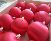 Red Satin Thread Christmas Ball Ornaments, Set of Twelvr, Medium, Holiday Home Decor, Christmas Tree Decor