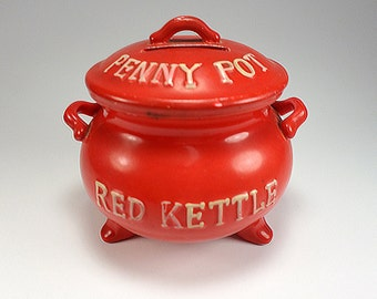 Penny Pot Red Kettle Ceramic Coin Bank, Housewares, Home Decor, Collectibles, Made in Japan