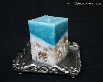 Seashell Candle - Beach Home Decor - Tropical Candles - Sea Shell Decor - Turquoise Candle - Beach Candle - Nautical Decor - Pillar Candle