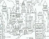 Michael Miller - Magic Collection by Sarah Jane - Castle Plans in White