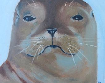 WITH ATTITUDE - 12 x 12 - California Sea Lion - Original Oil Painting - Seal - Beach Home Decor - Art - Sea Mammal - Beachy Decorative Art
