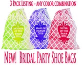 Brides Maid Gifts, 3 Shoe Bags, Personalized with Names or initials, 12 x 14 Makeup Bag, Lingerie Bag, Goody Bag, Party Favor Bags