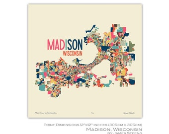 Madison, Wisconsin Art Map Print (Dane County) by James Steeno