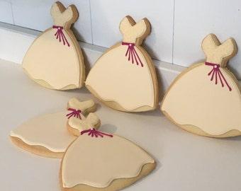 Wedding Bridal Dress Cookies - 1 Dozen