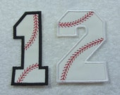Baseball Softball Numbers 4 inch Fabric Embroidered Iron on Applique Patch Made to Order