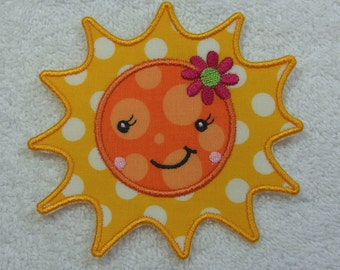 Sunshine Fabric Embroidered Iron On Applique Patch Ready to Ship