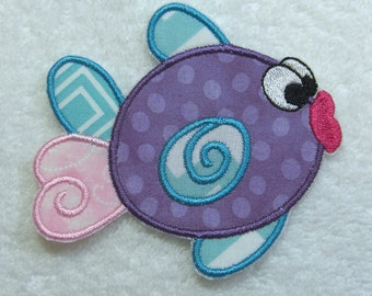 Cute Fish Fabric Embroidered Iron on Applique Patch Ready to Ship