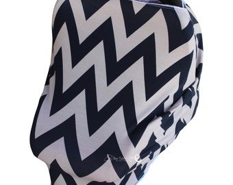SHIPS TODAY- Car Seat Cozy™ - Black and Tan Chevron Car Seat Cover, Nursing Cover, Shopping Cart Cover, etc!