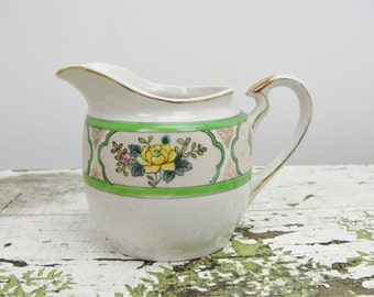 Vintage Cream pitcher with flowers hand painted Nippon