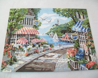 SALE - Hand Painted Seaside Picture, By The Sea, completed paint by number picture