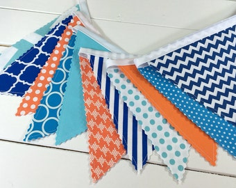 Bunting Banner, Photo Prop, Flags, Birthday Decoration, Nursery Decor, Cake Smash,Aqua Blue,Orange,Teal,Bright Blue,Cobalt,Dory,Finding Nemo